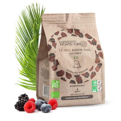 Capsules de café bio compatibles nespresso colombie bourbon rouge